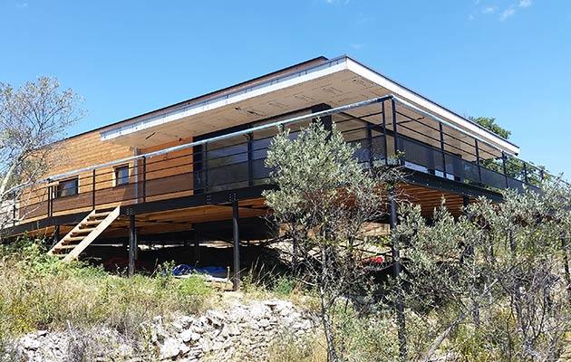 Maison structure mixte Ossature bois & structure métal (2016 ; 04300 Forcalquier)