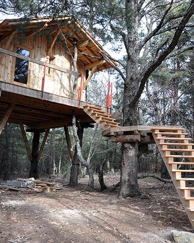 Escalier bois accès extérieur